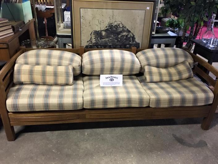 We now have a vintage Jack Daniel's mission style barrel couch with a checkered print!