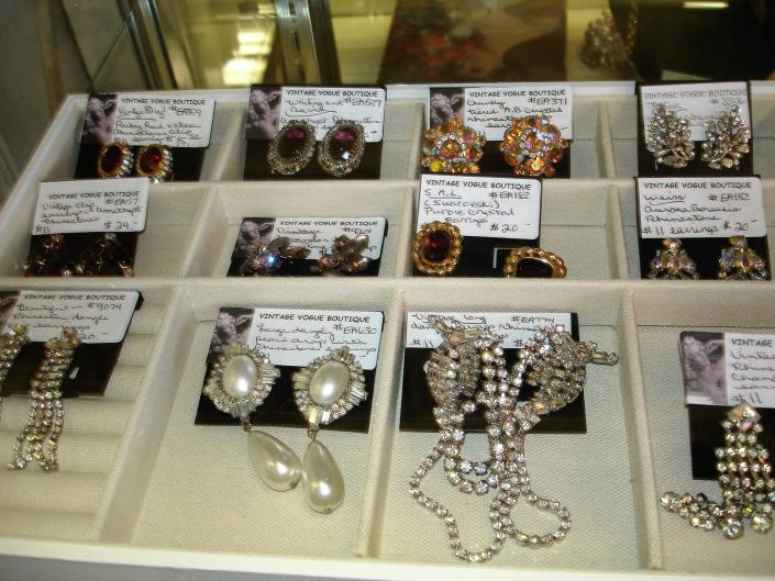 Lots of vintage earrings and jewelry from Vintage Vogue Boutique!